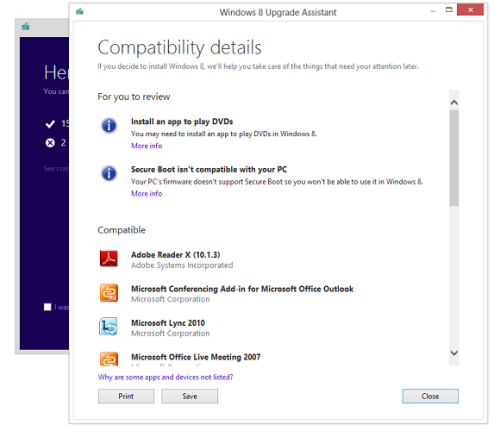 Windows 8 installer compatibility window