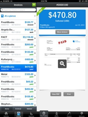 Freshbooks for iPad