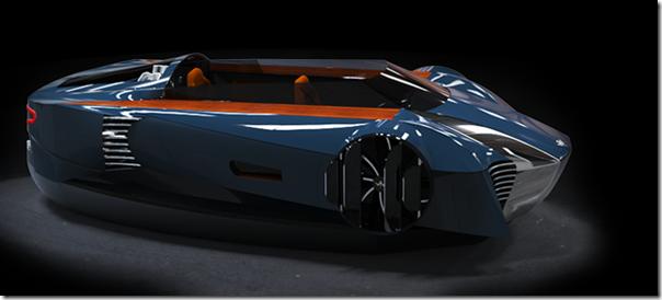 Future technology Concept of a sports car on an air cushion