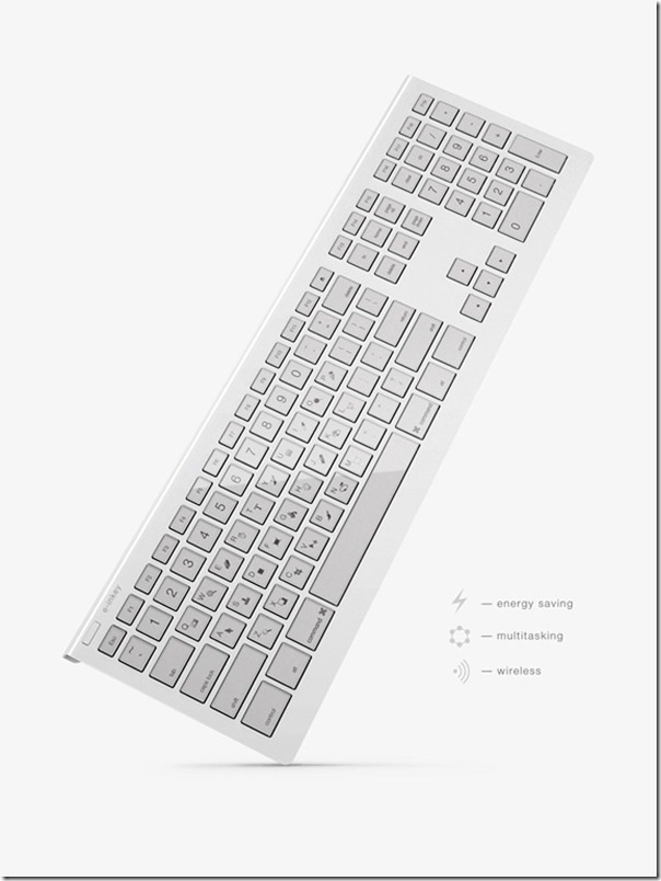 Future technology Concept of a wireless keyboard e-INKEY