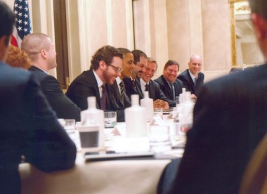 Barack Obama at a roundtable discussion with techies including Sean Parker, Shervin Pishevar and Tom Katis. (Photo courtesy Tom Katis.)